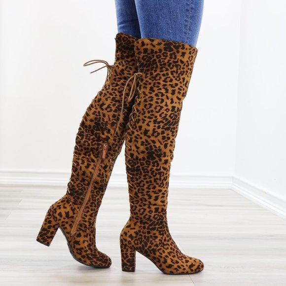 leopard thigh boots